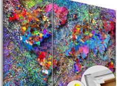 Kép parafán - Colourful Whirl [Cork Map]